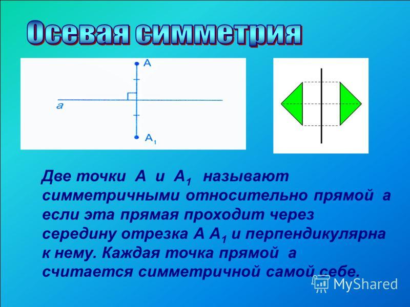 Две точки А и А 1 называют симметричными относительно прямой а если эта прямая проходит через середину отрезка А А 1 и перпендикулярна к нему. Каждая точка прямой а считается симметричной самой себе.