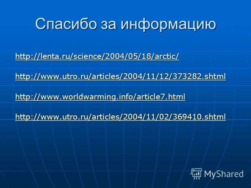Спасибо за информацию http://lenta.ru/science/2004/05/18/arctic/ http://www.utro.ru/articles/2004/11/12/373282.shtml http://www.worldwarming.info/article7.html http://www.utro.ru/articles/2004/11/02/369410.shtml