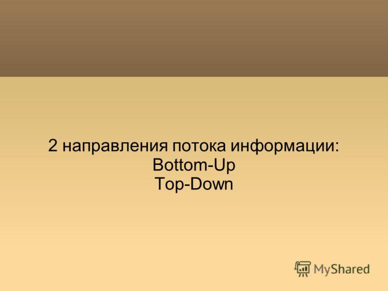 2 направления потока информации: Bottom-Up Top-Down