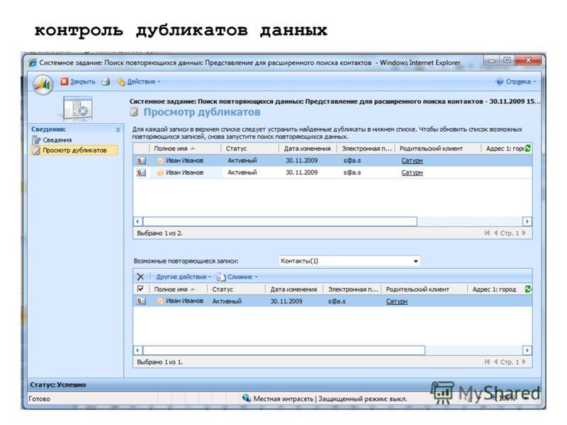 контроль дубликатов данных