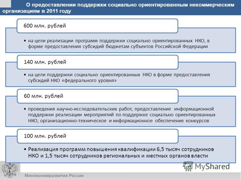 О предоставлении поддержки социально ориентированным некоммерческим организациям в 2011 году на цели реализации программ поддержки социально ориентированных НКО, в форме предоставления субсидий бюджетам субъектов Российской Федерации 600 млн. рублей