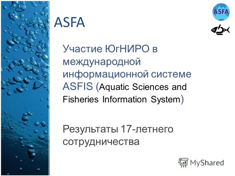 ASFA Участие ЮгНИРО в международной информационной системе ASFIS ( Aquatic Sciences and Fisheries Information System ) Результаты 17-летнего сотрудничества