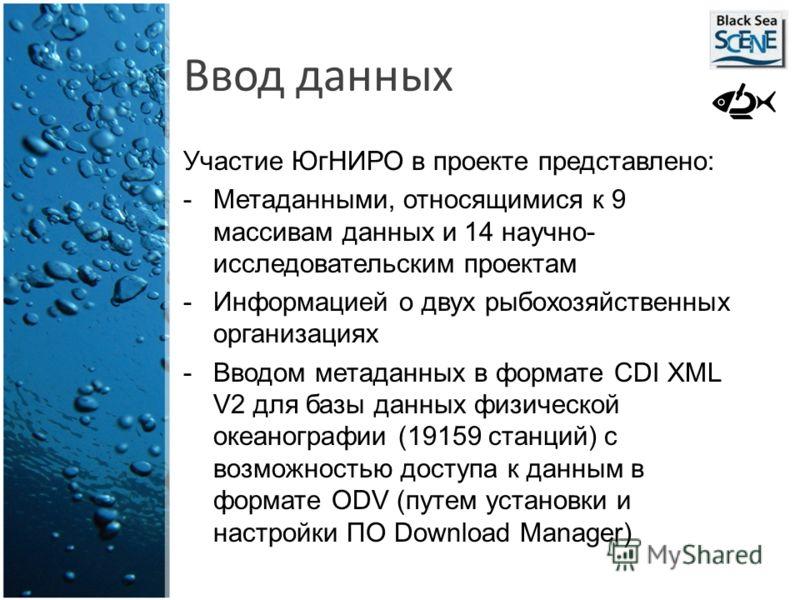 Ввод данных Участие ЮгНИРО в проекте представлено: -Метаданными, относящимися к 9 массивам данных и 14 научно- исследовательским проектам -Информацией о двух рыбохозяйственных организациях -Вводом метаданных в формате CDI XML V2 для базы данных физич