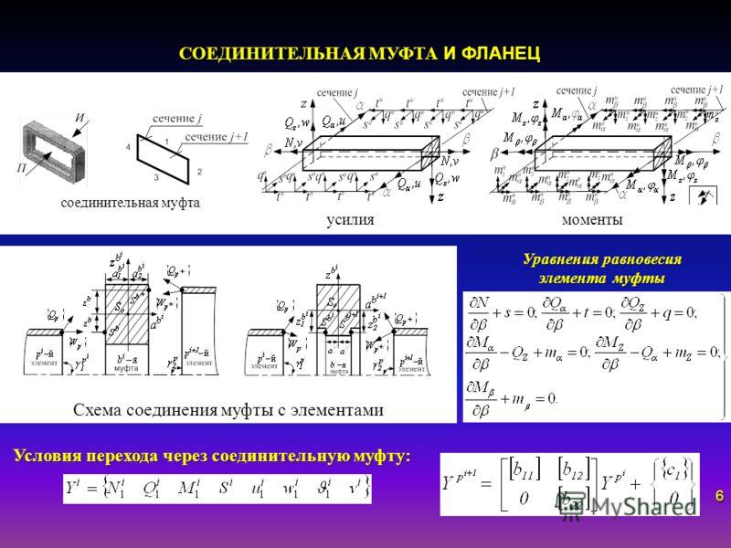 Уравнения равновесия элемента муфты усилия моменты СОЕДИНИТЕЛЬНАЯ МУФТА И ФЛАНЕЦ соединительная муфта Схема соединения муфты с элементами Условия перехода через соединительную муфту: 6