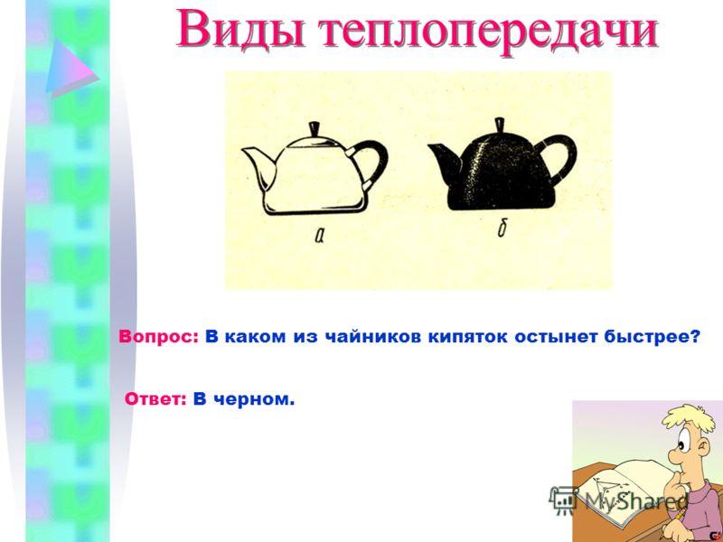 Виды теплопередачи Вопрос: В каком из чайников кипяток остынет быстрее? Ответ: В черном.