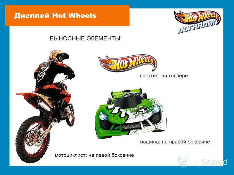 ВЫНОСНЫЕ ЭЛЕМЕНТЫ: мотоциклист: на левой боковине машина: на правой боковине логотип: на топпере