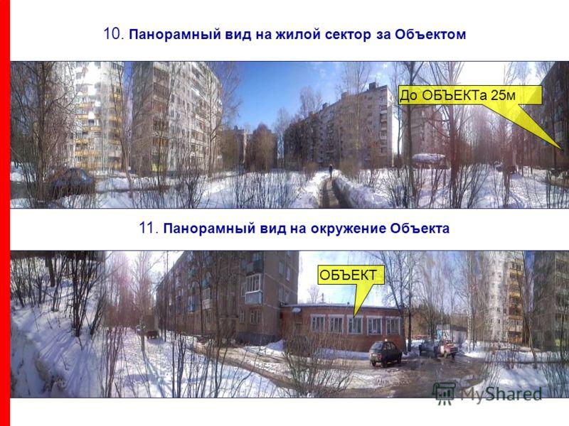 10. Панорамный вид на жилой сектор за Объектом До ОБЪЕКТа 25м 11. Панорамный вид на окружение Объекта ОБЪЕКТ