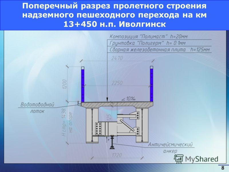 Поперечный разрез пролетного строения надземного пешеходного перехода на км 13+450 н.п. Иволгинск 8