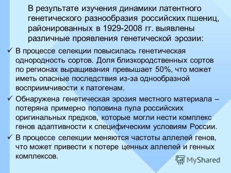 В результате изучения динамики латентного генетического разнообразия российских пшениц, районированных в 1929-2008 гг. выявлены различные проявления генетической эрозии: В процессе селекции повысилась генетическая однородность сортов. Доля близкородс