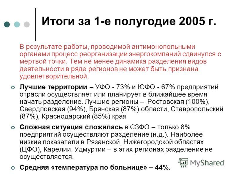 Итоги за 1-е полугодие 2005 г. В результате работы, проводимой антимонопольными органами процесс реорганизации энергокомпаний сдвинулся с мертвой точки. Тем не менее динамика разделения видов деятельности в ряде регионов не может быть признана удовле