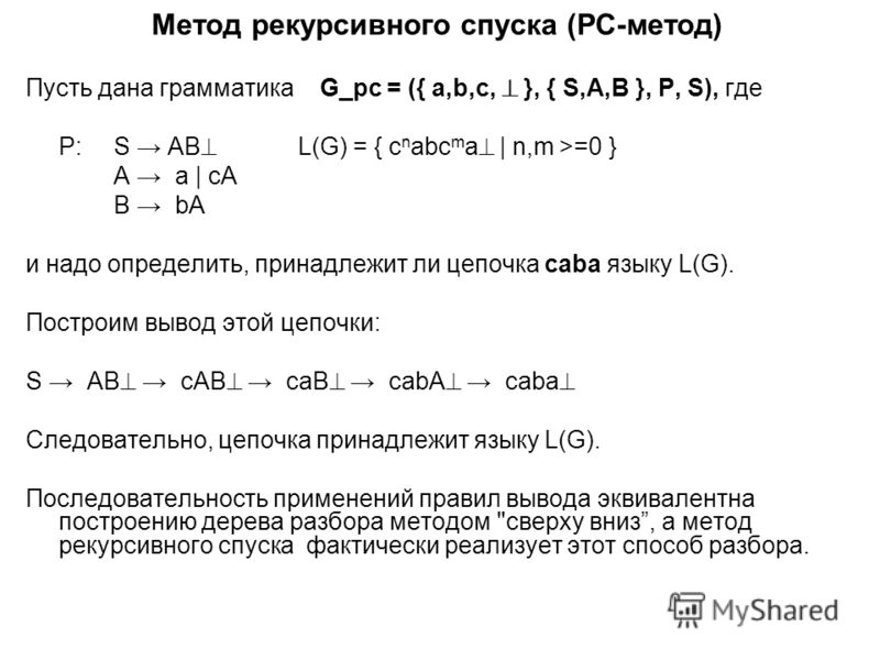 Метод рекурсивного спуска (РС-метод) Пусть дана грамматика G_рс = ({ a,b,c, }, { S,A,B }, P, S), где P:S AB L(G) = { c n abc m a | n,m >=0 } A a | cA B bA и надо определить, принадлежит ли цепочка caba языку L(G). Построим вывод этой цепочки: S AB cA