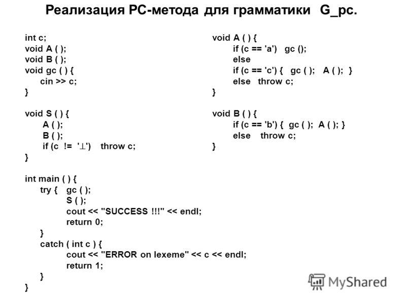 Реализация РС-метода для грамматики G_рс. int c;void A ( ) { void A ( ); if (c == 'a') gc (); void B ( ); else void gc ( ) {if (c == 'c') { gc ( ); A ( ); } cin >> c; else throw c;} void S ( ) { void B ( ) { А ( ); if (c == 'b') { gc ( ); A ( ); } B