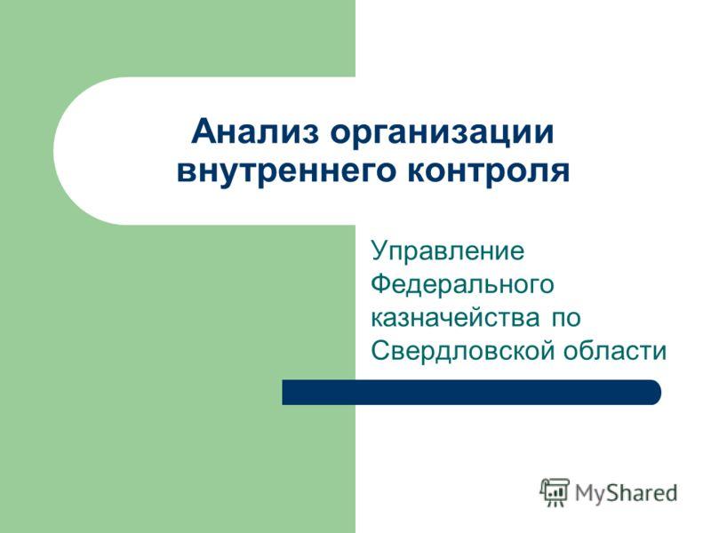 Анализ организации внутреннего контроля Управление Федерального казначейства по Свердловской области
