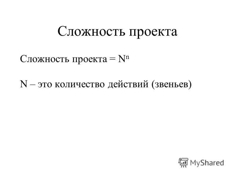 Сложность проекта Сложность проекта = N n N – это количество действий (звеньев)