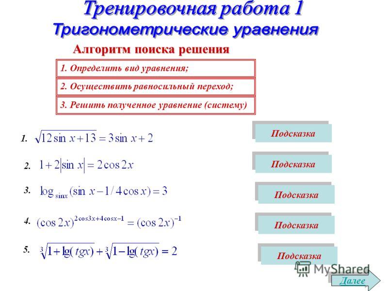 1. Определить вид уравнения; 2. Осуществить равносильный переход; 3. Решить полученное уравнение (систему) Алгоритм поиска решения Далее 1. Подсказка 2. Подсказка 3. Подсказка 4. Подсказка 5. Подсказка