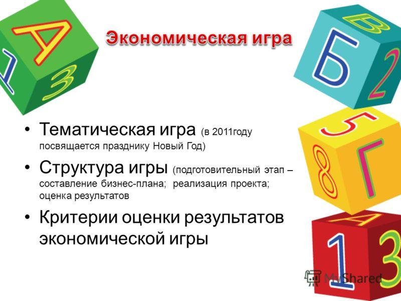 Тематическая игра (в 2011году посвящается празднику Новый Год) Структура игры (подготовительный этап – составление бизнес-плана; реализация проекта; оценка результатов Критерии оценки результатов экономической игры