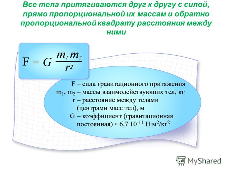 Все тела притягиваются друг к другу с силой, прямо пропорциональной их массам и обратно пропорциональной квадрату расстояния между ними