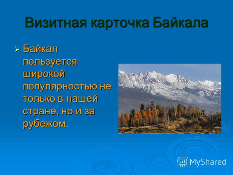 Визитная карточка Байкала Байкал пользуется широкой популярностью не только в нашей стране, но и за рубежом. Байкал пользуется широкой популярностью не только в нашей стране, но и за рубежом.