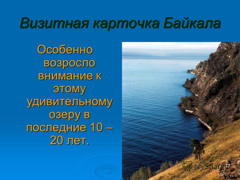 Визитная карточка Байкала Особенно возросло внимание к этому удивительному озеру в последние 10 – 20 лет.