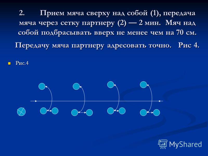 II. Основная часть (30 мин.). Выполнение упражнений по методу круговой тренировки 15мин. Выполнение упражнений по методу круговой тренировки 15мин. Упражнения в парах. Упражнения в парах. 1. Прием и передача мяча сверху двумя руками через сетку в п