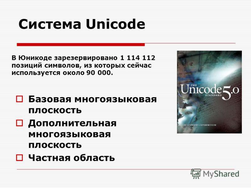 Система Unicode Базовая многоязыковая плоскость Дополнительная многоязыковая плоскость Частная область В Юникоде зарезервировано 1 114 112 позиций символов, из которых сейчас используется около 90 000.