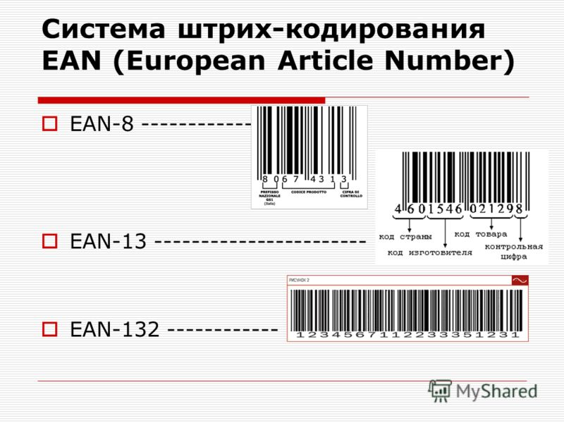 Система штрих-кодирования EAN (European Article Number) EAN-8 ------------- EAN-13 ----------------------- EAN-132 ------------