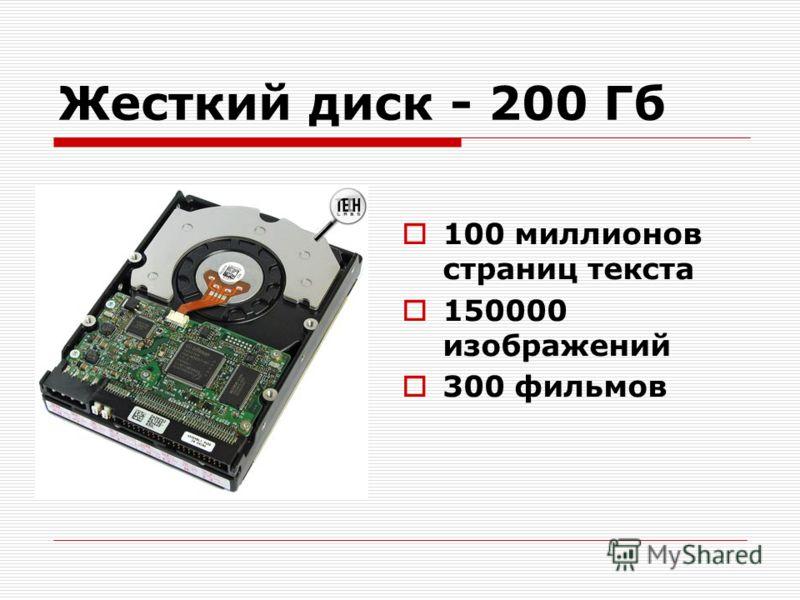 Жесткий диск - 200 Гб 100 миллионов страниц текста 150000 изображений 300 фильмов