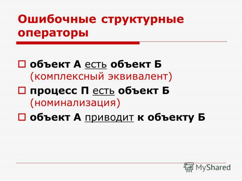 Ошибочные структурные операторы объект А есть объект Б (комплексный эквивалент) процесс П есть объект Б (номинализация) объект А приводит к объекту Б