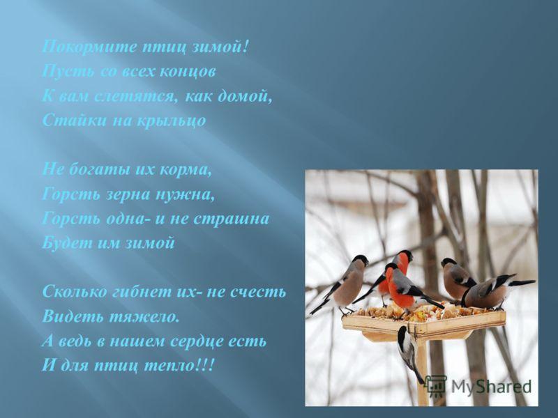 Покормите птиц зимой ! Пусть со всех концов К вам слетятся, как домой, Стайки на крыльцо Не богаты их корма, Горсть зерна нужна, Горсть одна - и не страшна Будет им зимой Сколько гибнет их - не счесть Видеть тяжело. А ведь в нашем сердце есть И для п