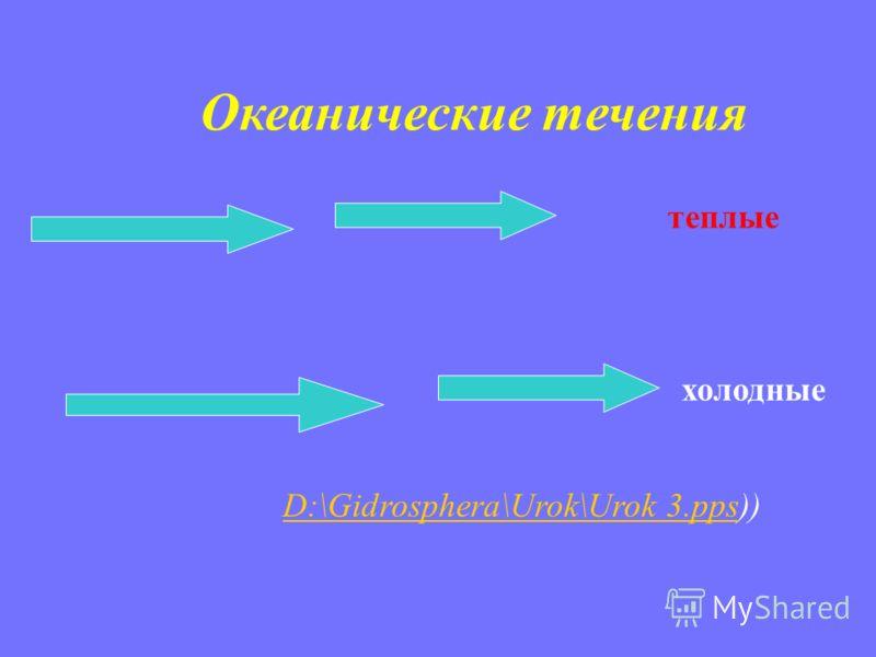 Океанические течения теплые холодные D:\Gidrosphera\Urok\Urok 3.ppsD:\Gidrosphera\Urok\Urok 3.pps))