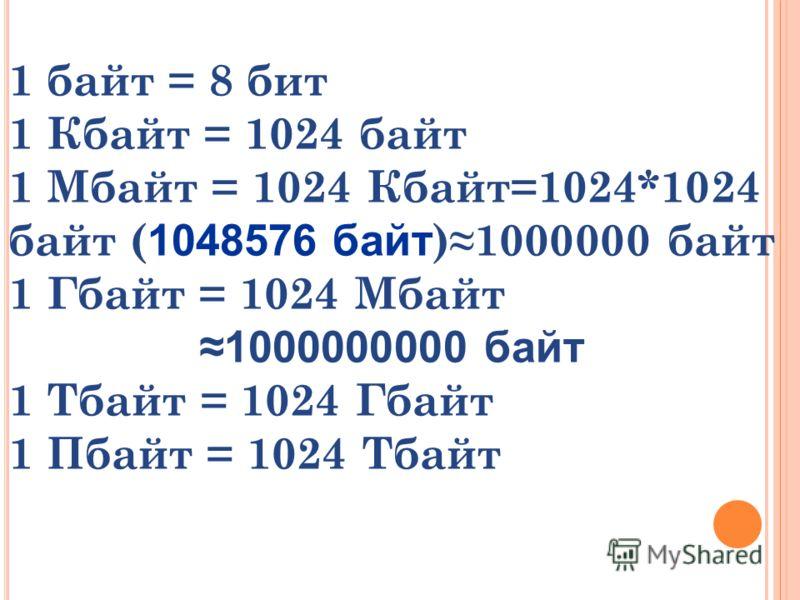 1 байт = 8 бит 1 Кбайт = 1024 байт 1 Мбайт = 1024 Кбайт=1024*1024 байт ( 1048576 байт )1000000 байт 1 Гбайт = 1024 Мбайт 1000000000 байт 1 Тбайт = 1024 Гбайт 1 Пбайт = 1024 Тбайт