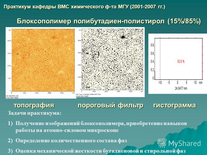 Задачи практикума: 1)Получение изображений блоксополимера, приобретение навыков работы на атомно-силовом микроскопе 2)Определение количественного состава фаз 3)Оценка механической жесткости бутадиеновой и стирольной фаз Блоксополимер полибутадиен-пол
