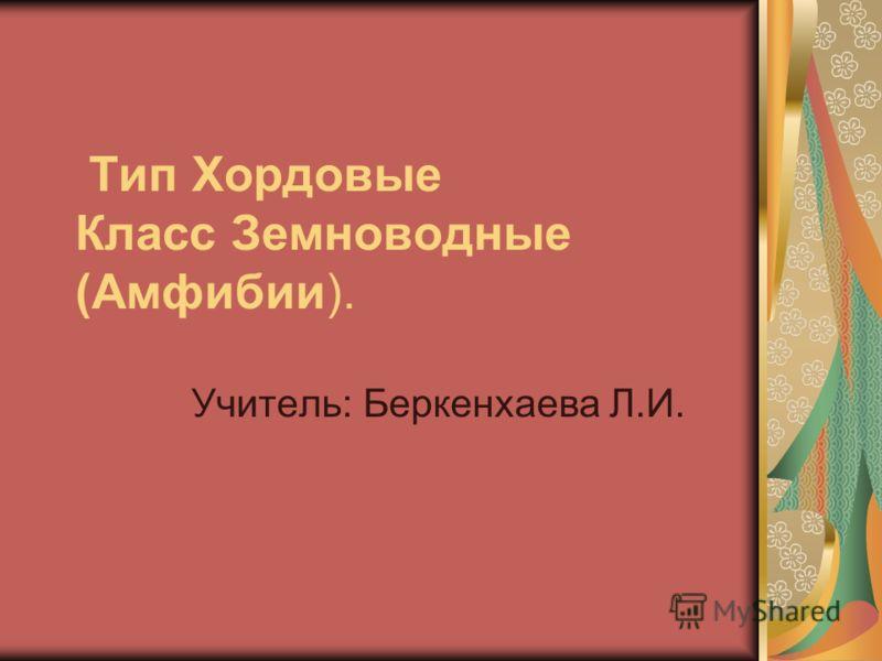 Тип Хордовые Класс Земноводные (Амфибии). Учитель: Беркенхаева Л.И.