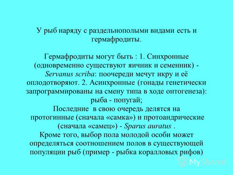 У рыб наряду с раздельнополыми видами есть и гермафродиты. Гермафродиты могут быть : 1. Синхронные (одновременно существуют яичник и семенник) - Servanus scriba: поочереди мечут икру и её оплодотворяют. 2. Асинхронные (гонады генетически запрограммир