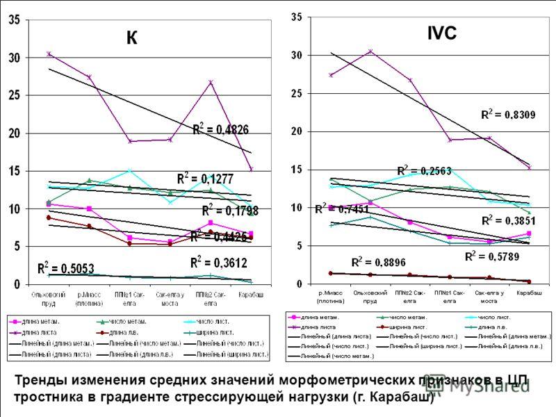 Тренды изменения средних значений морфометрических признаков в ЦП тростника в градиенте стрессирующей нагрузки (г. Карабаш) К IVC