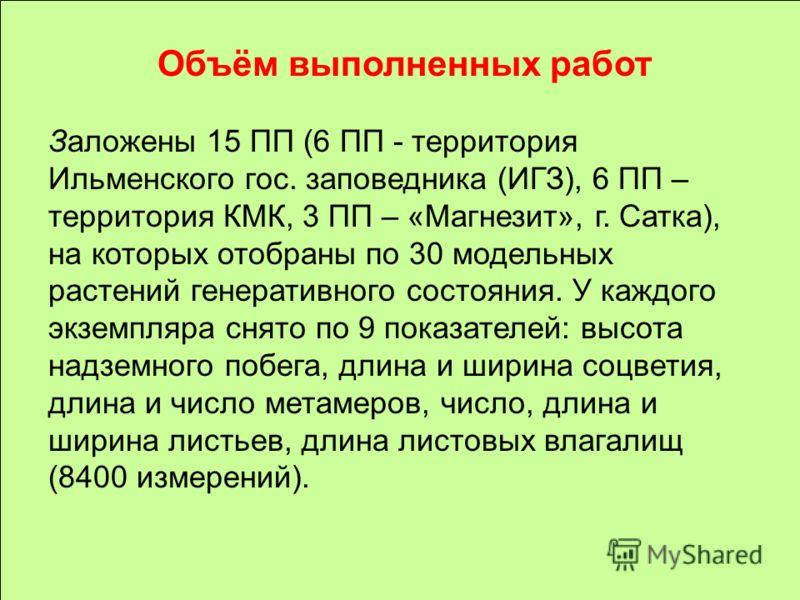 Объём выполненных работ Заложены 15 ПП (6 ПП - территория Ильменского гос. заповедника (ИГЗ), 6 ПП – территория КМК, 3 ПП – «Магнезит», г. Сатка), на которых отобраны по 30 модельных растений генеративного состояния. У каждого экземпляра снято по 9 п