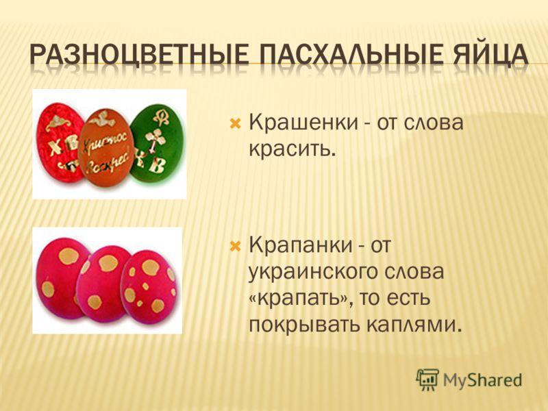 Крашенки - от слова красить. Крапанки - от украинского слова «крапать», то есть покрывать каплями.