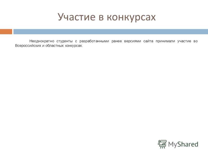 Участие в конкурсах Неоднократно студенты с разработанными ранее версиями сайта принимали участие во Всероссийских и областных конкурсах.