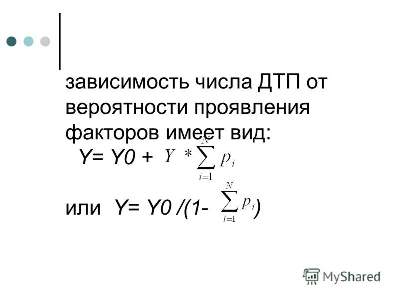 зависимость числа ДТП от вероятности проявления факторов имеет вид: Y= Y0 + или Y= Y0 /(1- )