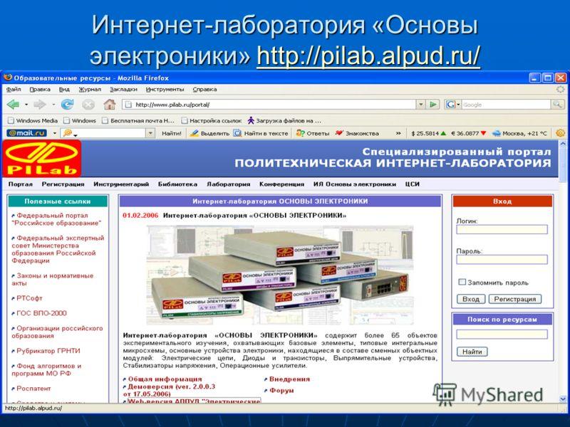 31 Интернет-лаборатория «Основы электроники» http://pilab.alpud.ru/ http://pilab.alpud.ru/