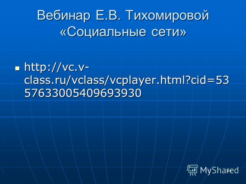 64 Вебинар Е.В. Тихомировой «Социальные сети» http://vc.v- class.ru/vclass/vcplayer.html?cid=53 57633005409693930 http://vc.v- class.ru/vclass/vcplayer.html?cid=53 57633005409693930
