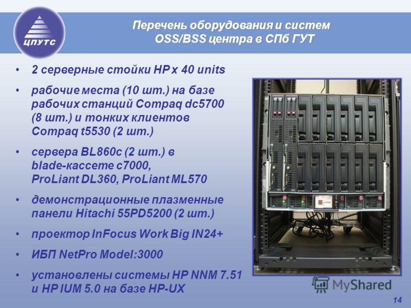 14 Перечень оборудования и систем OSS/BSS центра в СПб ГУТ 2 серверные стойки HP х 40 units рабочие места (10 шт.) на базе рабочих станций Compaq dc5700 (8 шт.) и тонких клиентов Compaq t5530 (2 шт.) сервера BL860c (2 шт.) в blade-кассете с7000, ProL