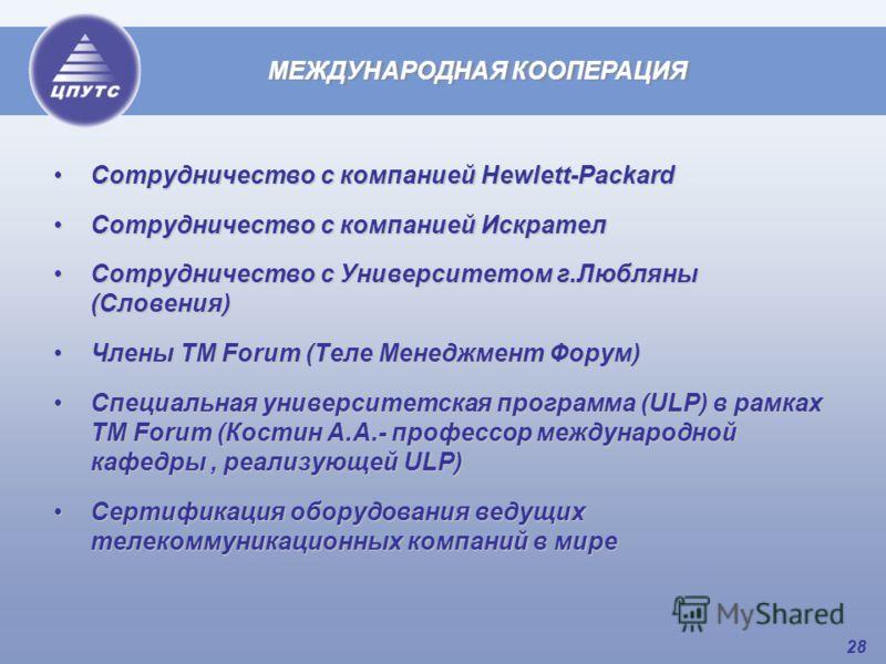28 Сотрудничество с компанией Hewlett-PackardСотрудничество с компанией Hewlett-Packard Сотрудничество с компанией ИскрателСотрудничество с компанией Искрател Сотрудничество с Университетом г.Любляны (Словения)Сотрудничество с Университетом г.Любляны