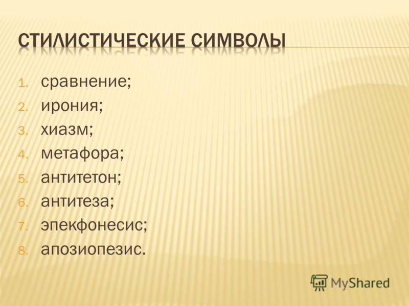 1. сравнение; 2. ирония; 3. хиазм; 4. метафора; 5. антитетон; 6. антитеза; 7. эпекфонесис; 8. апозиопезис.