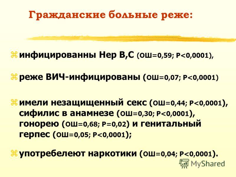 Гражданские больные реже: zинфицированны Hep B,C (ОШ=0,59; P