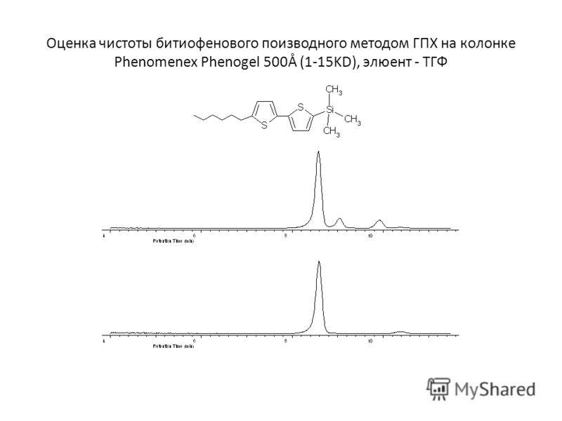 Оценка чистоты битиофенового поизводного методом ГПХ на колонке Phenomenex Phenogel 500Å (1-15KD), элюент - ТГФ