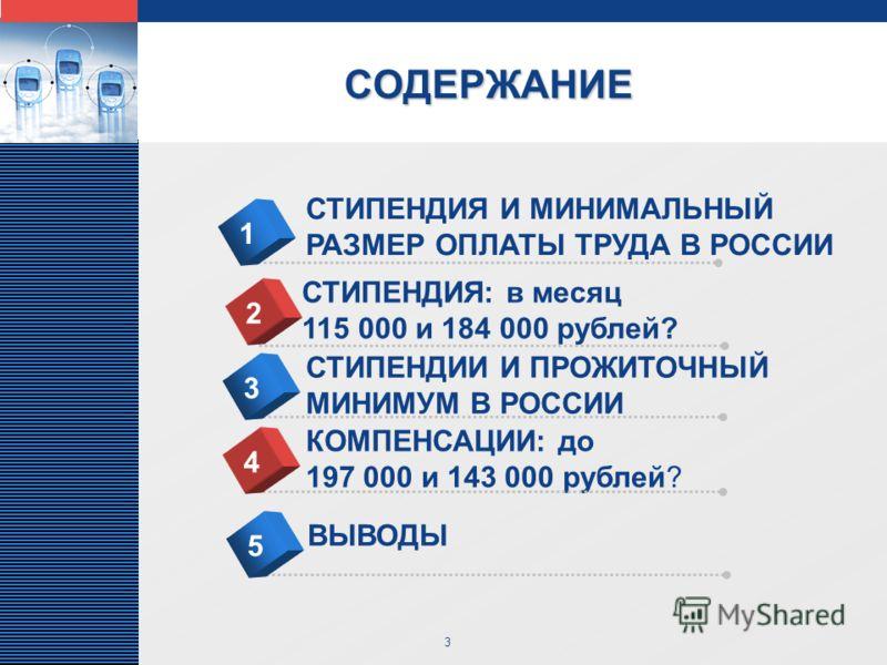 LOGO СОДЕРЖАНИЕ КОМПЕНСАЦИИ: до 197 000 и 143 000 рублей? 1 СТИПЕНДИИ И ПРОЖИТОЧНЫЙ МИНИМУМ В РОССИИ 2 СТИПЕНДИЯ И МИНИМАЛЬНЫЙ РАЗМЕР ОПЛАТЫ ТРУДА В РОССИИ 3 4 3 5 СТИПЕНДИЯ: в месяц 115 000 и 184 000 рублей? ВЫВОДЫ