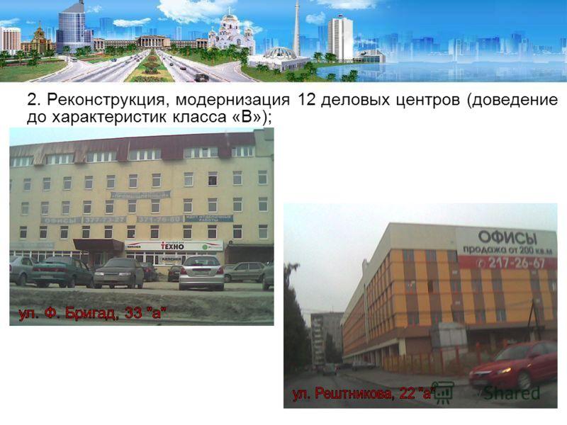 2. Реконструкция, модернизация 12 деловых центров (доведение до характеристик класса «В»);