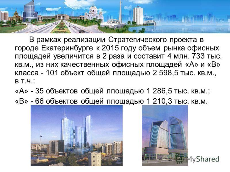 В рамках реализации Стратегического проекта в городе Екатеринбурге к 2015 году объем рынка офисных площадей увеличится в 2 раза и составит 4 млн. 733 тыс. кв.м., из них качественных офисных площадей «А» и «В» класса - 101 объект общей площадью 2 598,