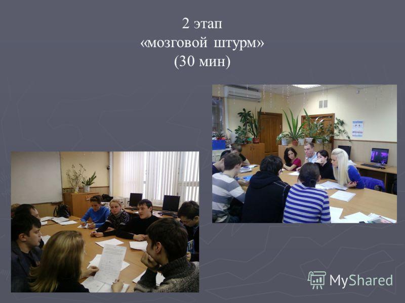 2 этап «мозговой штурм» (30 мин)